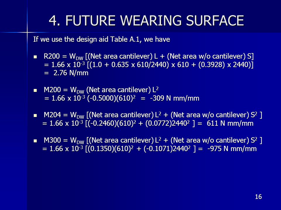 4. FUTURE WEARING SURFACE