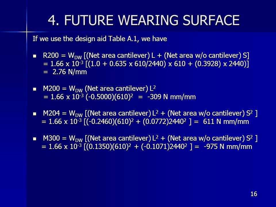4. FUTURE WEARING SURFACE