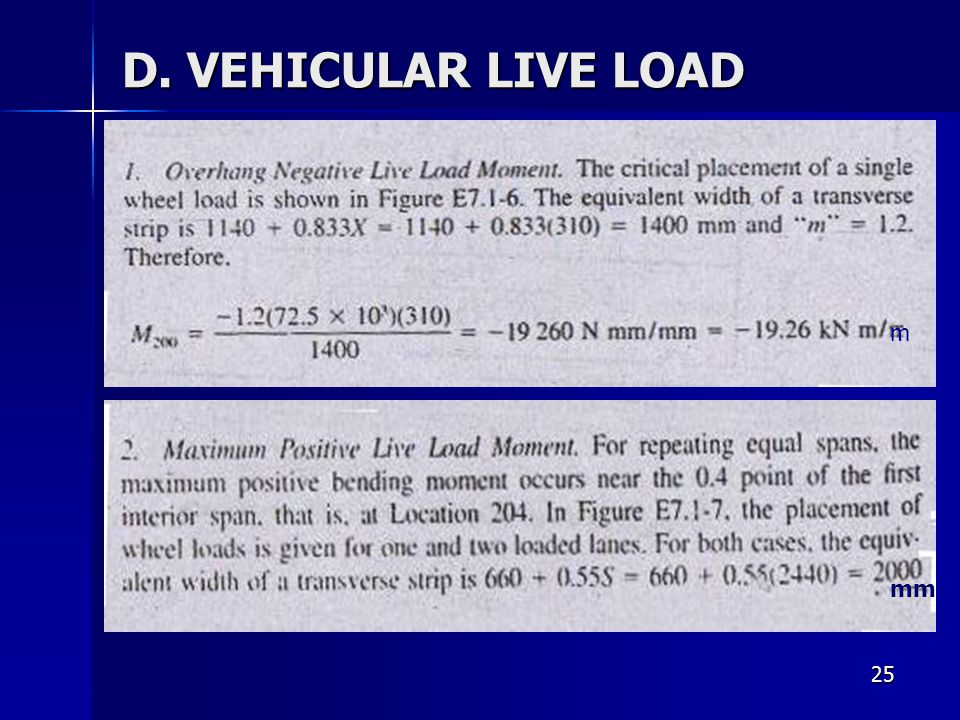 D. VEHICULAR LIVE LOAD m mm