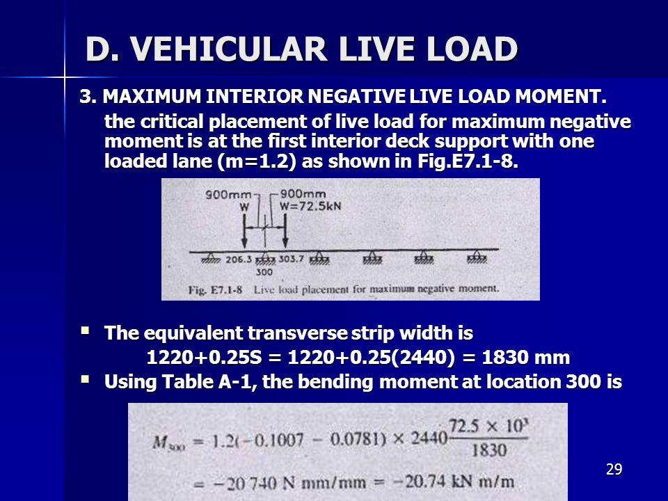 D. VEHICULAR LIVE LOAD 3. MAXIMUM INTERIOR NEGATIVE LIVE LOAD MOMENT.