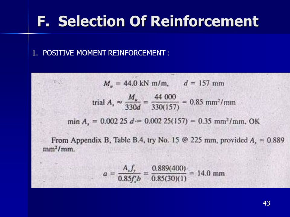 F. Selection Of Reinforcement