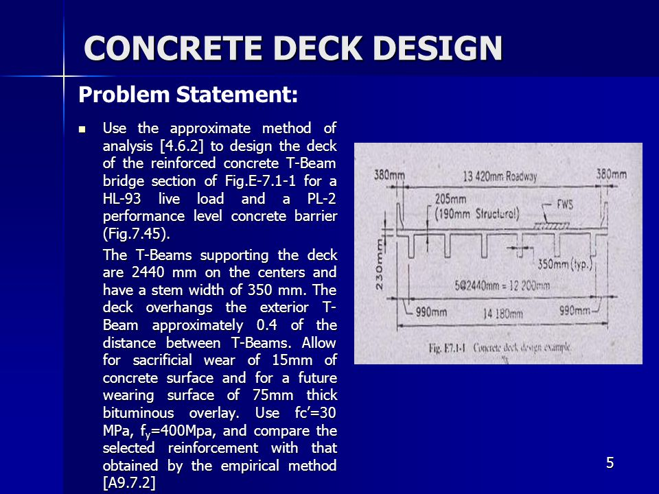 CONCRETE DECK DESIGN Problem Statement: