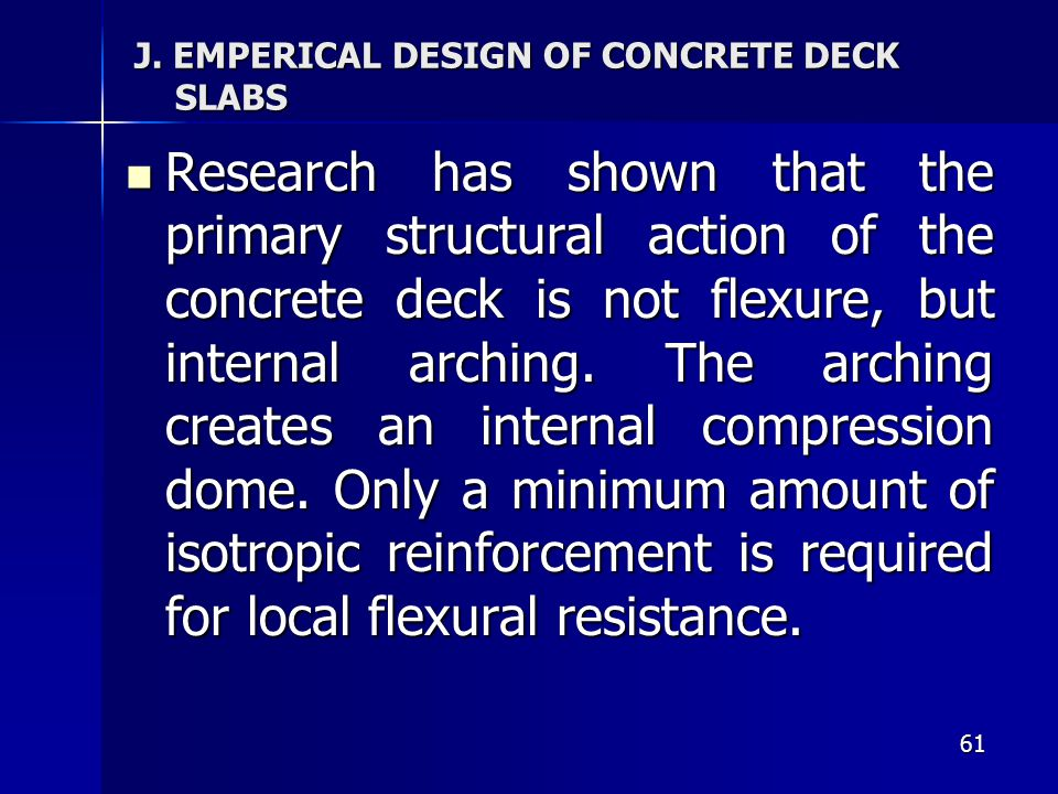 J. EMPERICAL DESIGN OF CONCRETE DECK SLABS