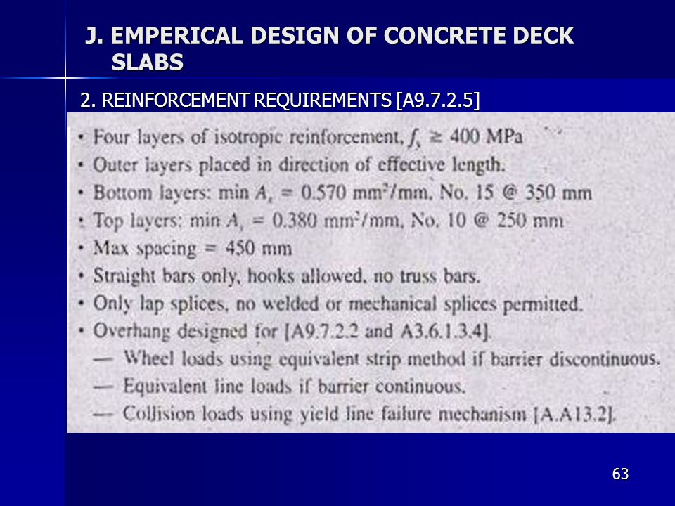 J. EMPERICAL DESIGN OF CONCRETE DECK SLABS