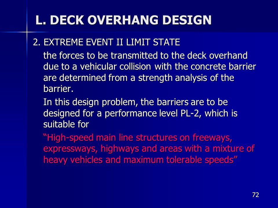 L. DECK OVERHANG DESIGN 2. EXTREME EVENT II LIMIT STATE