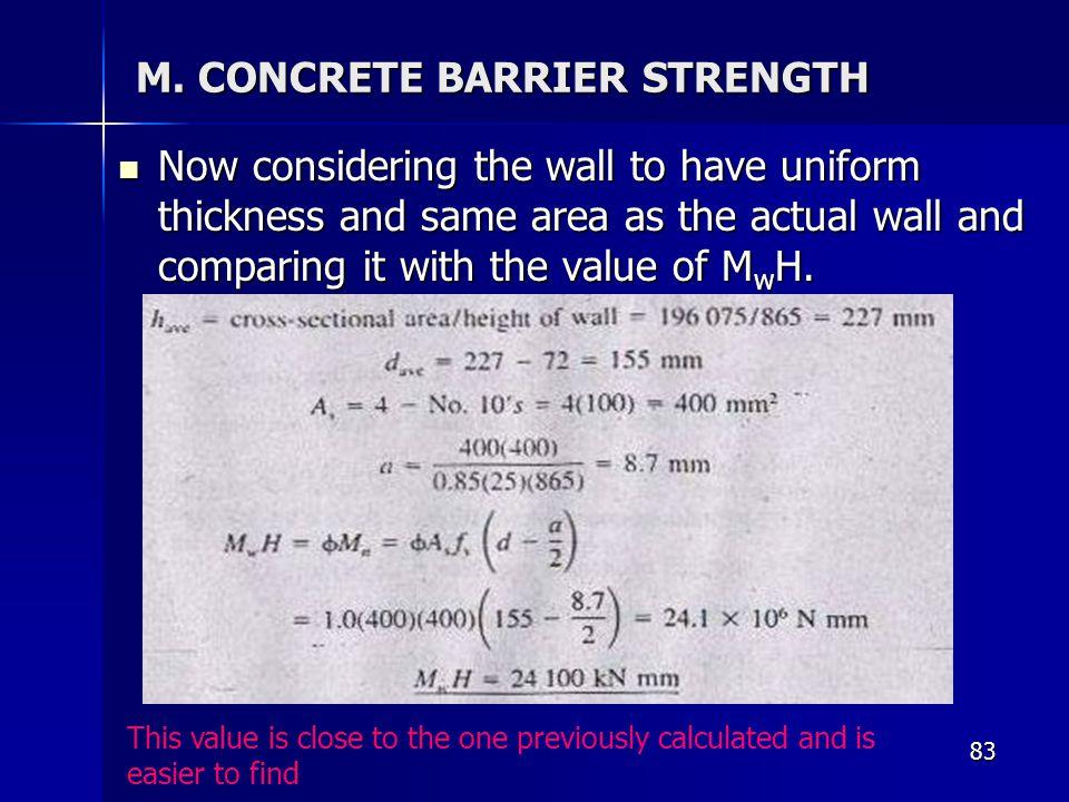 M. CONCRETE BARRIER STRENGTH