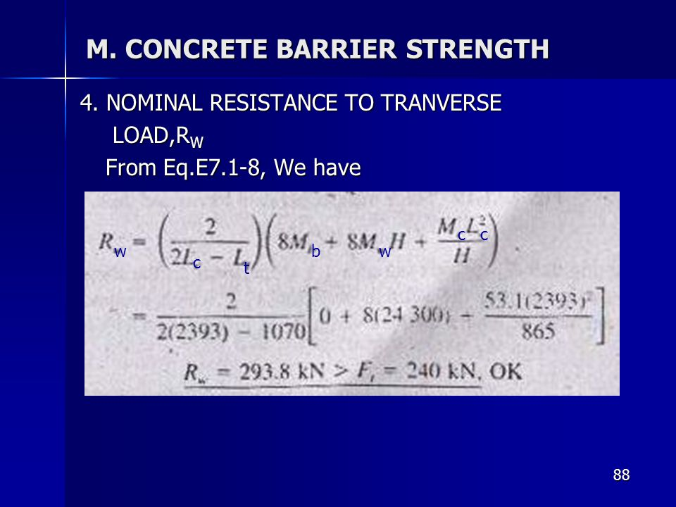 M. CONCRETE BARRIER STRENGTH