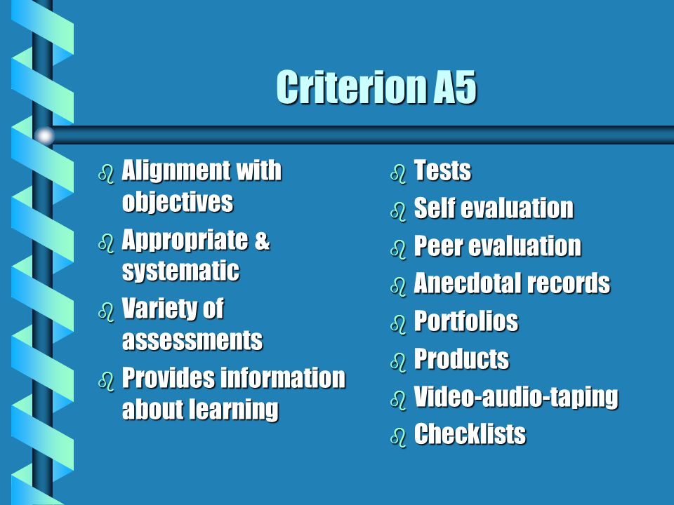 Criterion A5 Alignment with objectives Appropriate & systematic