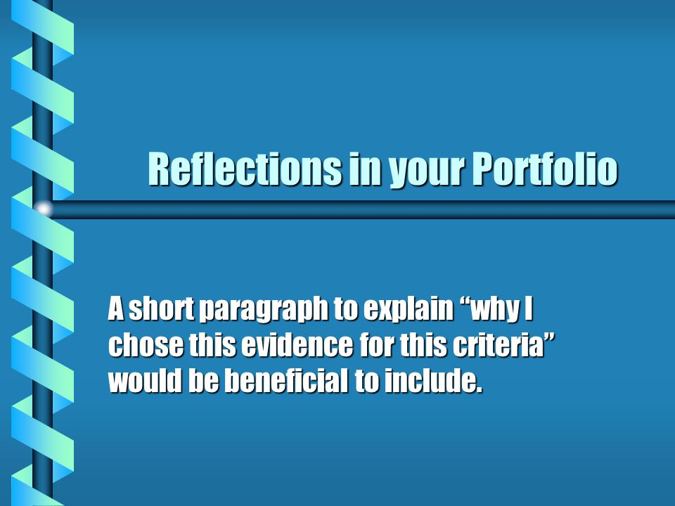 Reflections in your Portfolio