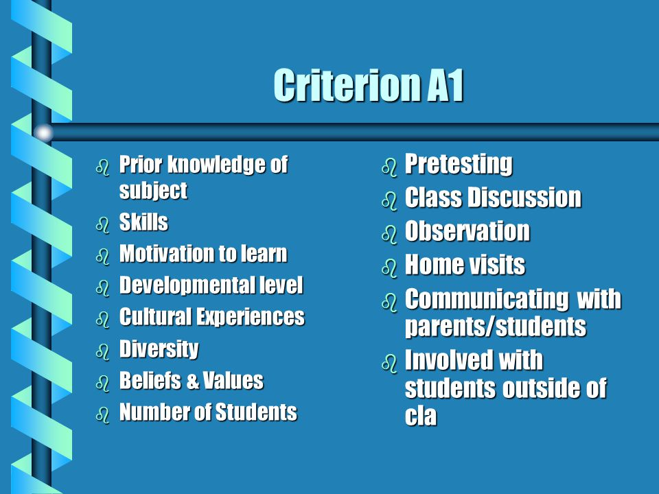 Criterion A1 Pretesting Class Discussion Observation Home visits