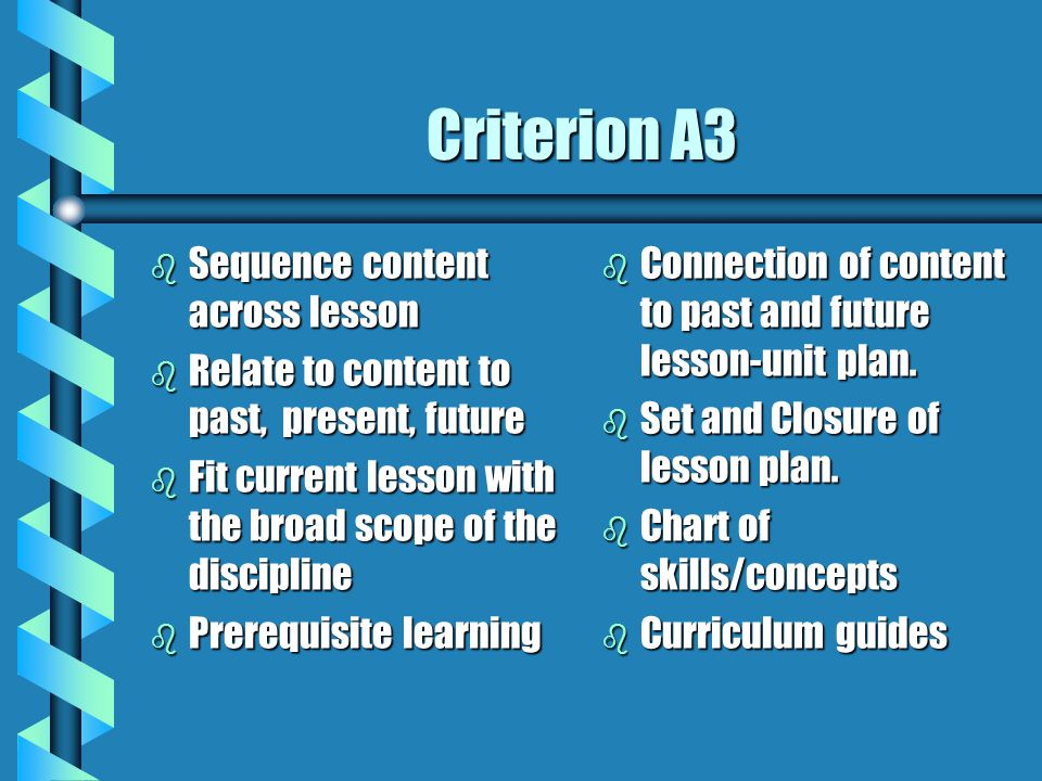 Criterion A3 Sequence content across lesson