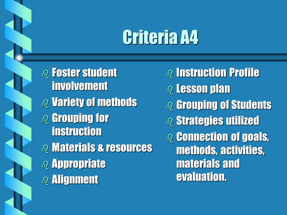 Criteria A4 Foster student involvement Variety of methods