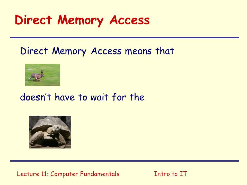 Direct Memory Access Direct Memory Access means that