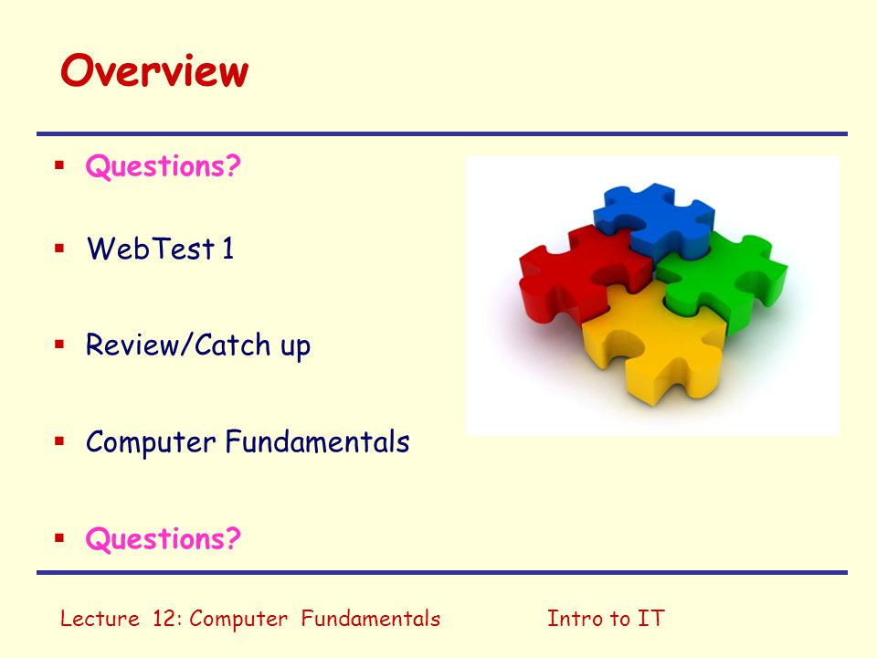 Overview Questions WebTest 1 Review/Catch up Computer Fundamentals
