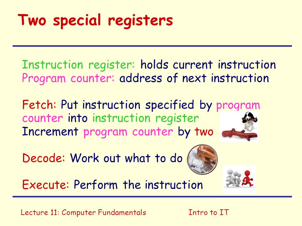 Two special registers Instruction register: holds current instruction
