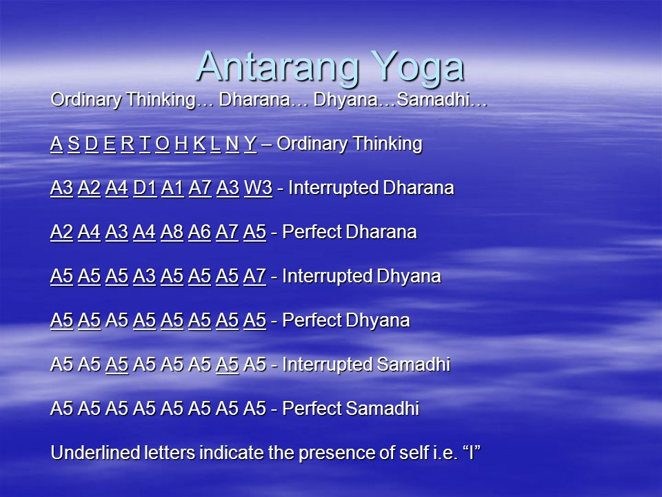 Antarang Yoga Ordinary Thinking… Dharana… Dhyana…Samadhi…
