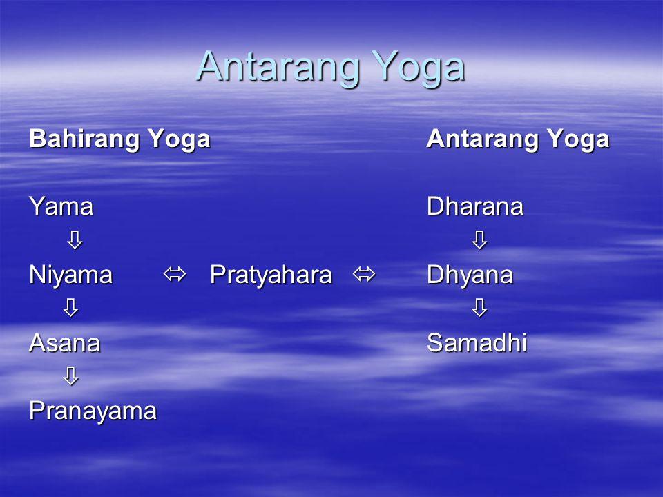 Antarang Yoga Bahirang Yoga Antarang Yoga Yama Dharana  