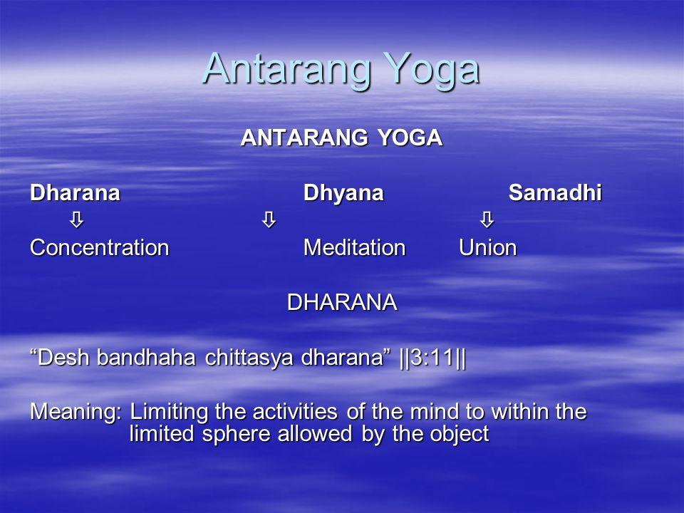 Antarang Yoga ANTARANG YOGA Dharana Dhyana Samadhi   