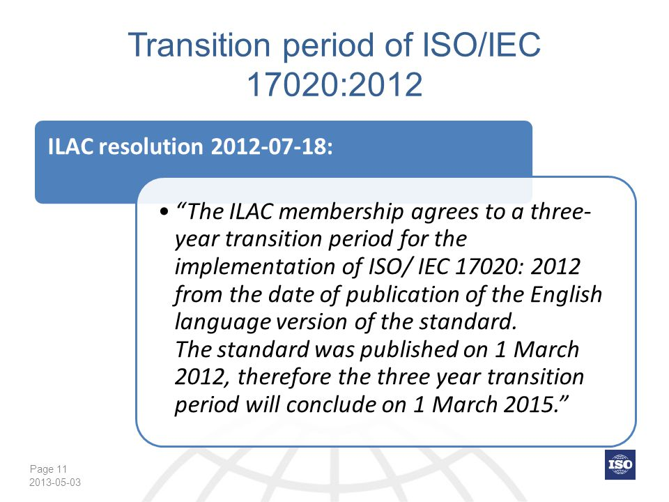 Transition period of ISO/IEC 17020:2012