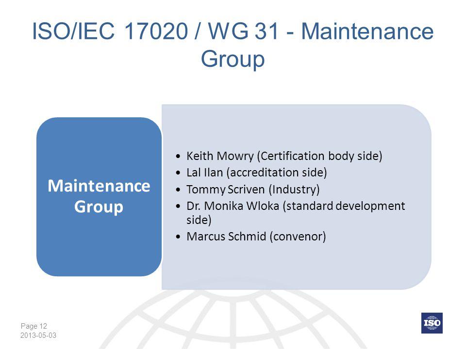ISO/IEC 17020 / WG 31 - Maintenance Group