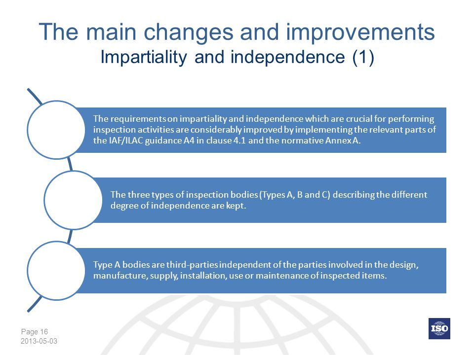 The main changes and improvements Impartiality and independence (1)