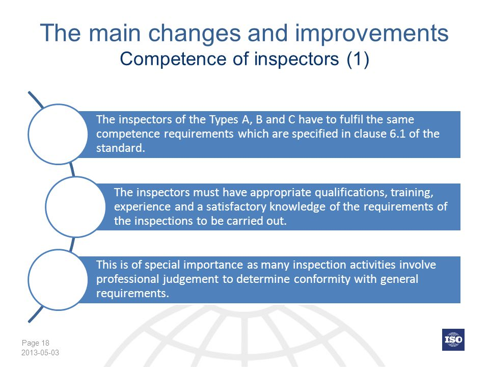 The main changes and improvements Competence of inspectors (1)