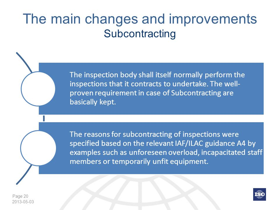 The main changes and improvements Subcontracting