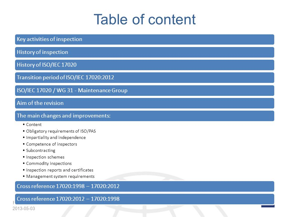 Table of content 2013-05-03 Key activities of inspection