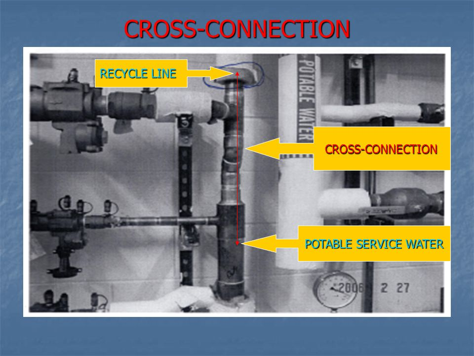 CROSS-CONNECTION RECYCLE LINE CROSS-CONNECTION POTABLE SERVICE WATER