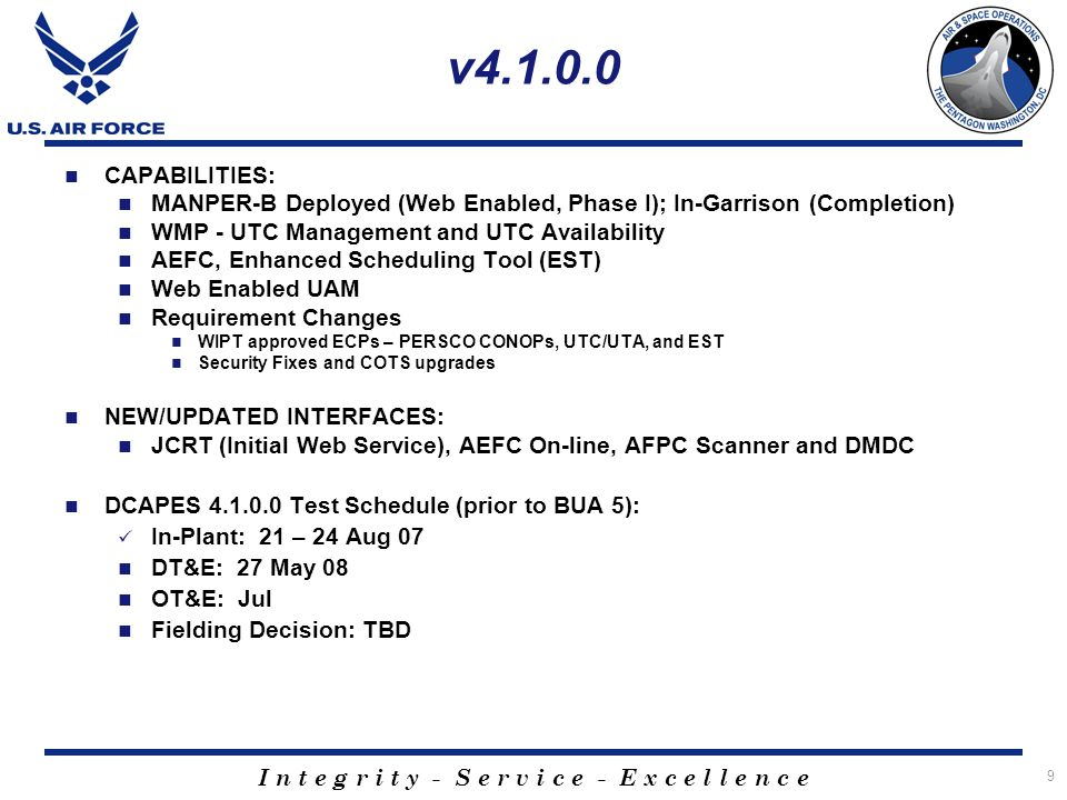v4.1.0.0 CAPABILITIES: MANPER-B Deployed (Web Enabled, Phase I); In-Garrison (Completion) WMP - UTC Management and UTC Availability.