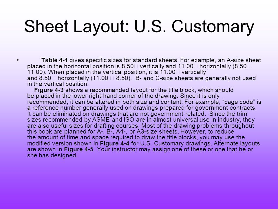 Sheet Layout: U.S. Customary