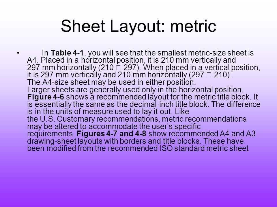 Sheet Layout: metric
