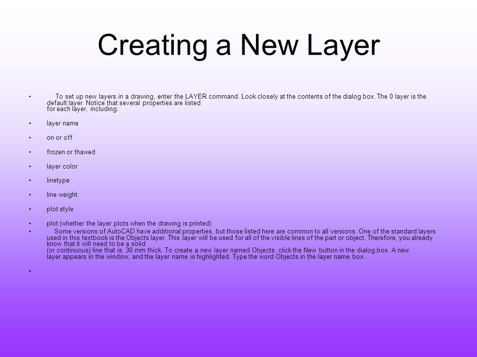 Creating a New Layer