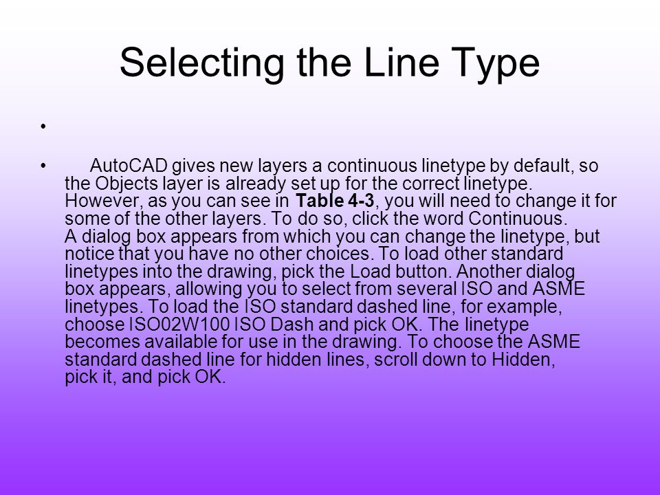Selecting the Line Type
