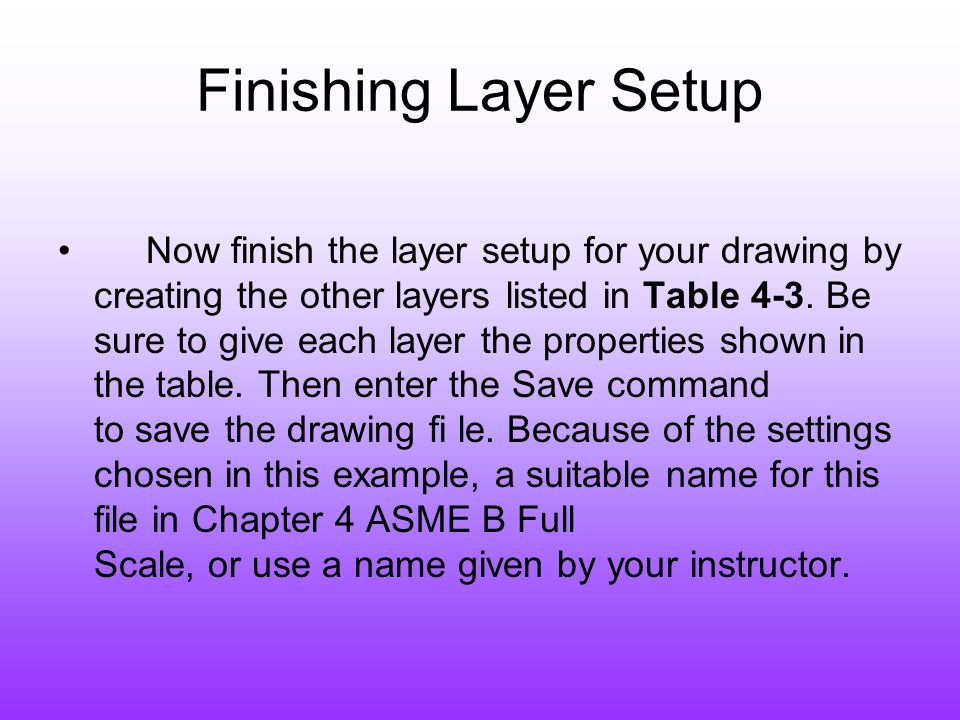 Finishing Layer Setup