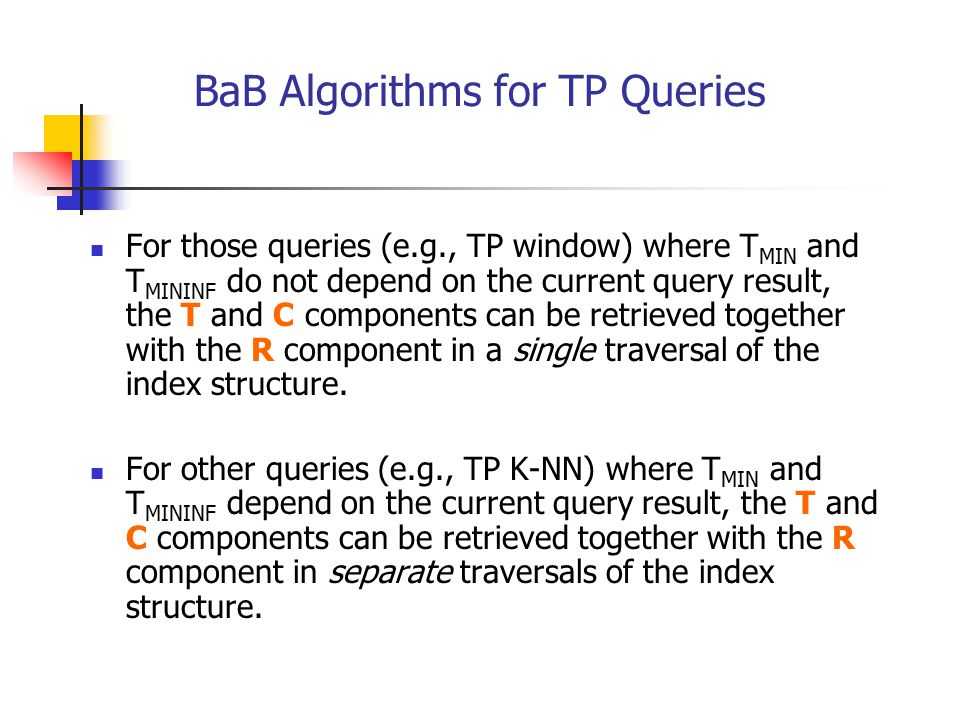 BaB Algorithms for TP Queries
