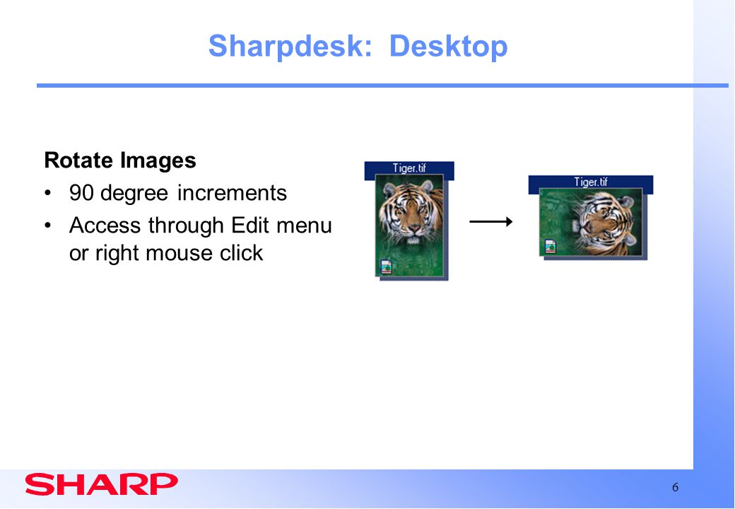 Sharpdesk: Desktop Rotate Images 90 degree increments