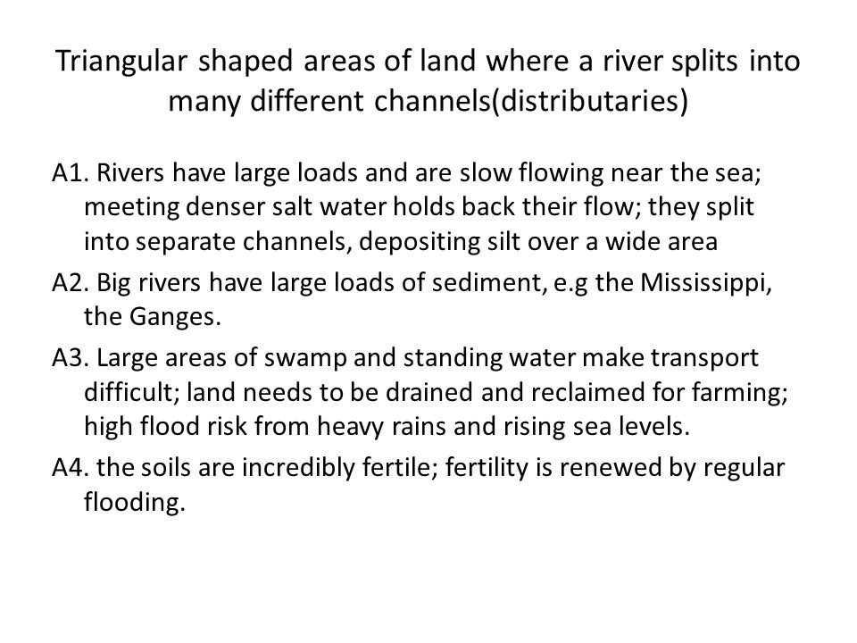 Triangular shaped areas of land where a river splits into many different channels(distributaries)