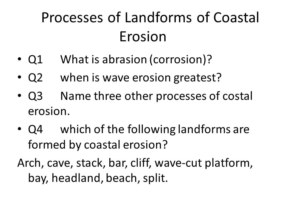 Processes of Landforms of Coastal Erosion