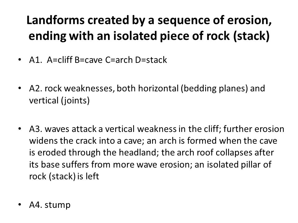 Landforms created by a sequence of erosion, ending with an isolated piece of rock (stack)