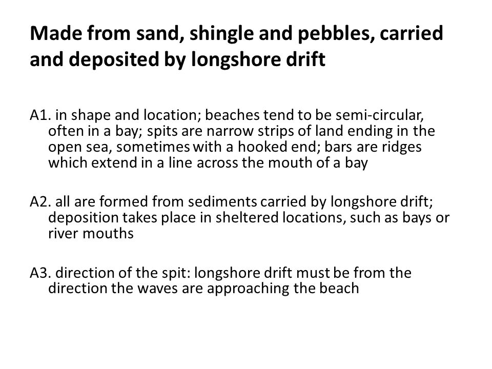 Made from sand, shingle and pebbles, carried and deposited by longshore drift