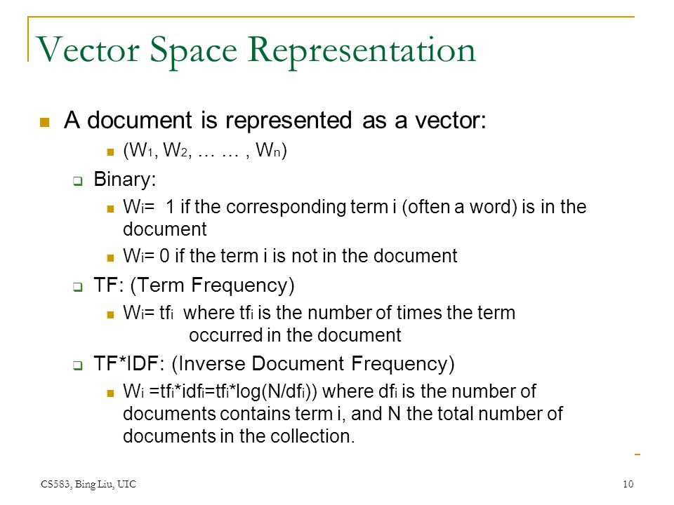 Vector Space Representation