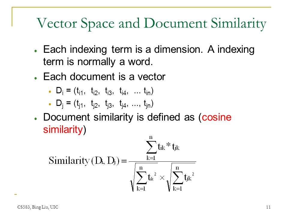 Vector Space and Document Similarity