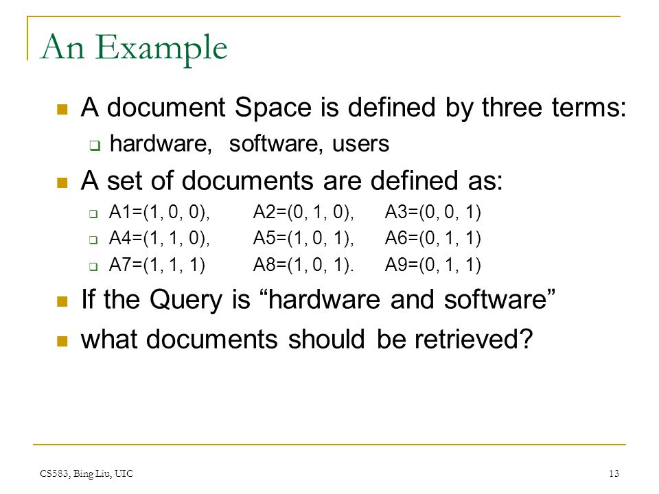 An Example A document Space is defined by three terms: