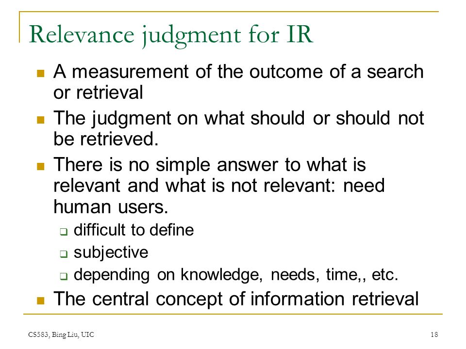 Relevance judgment for IR