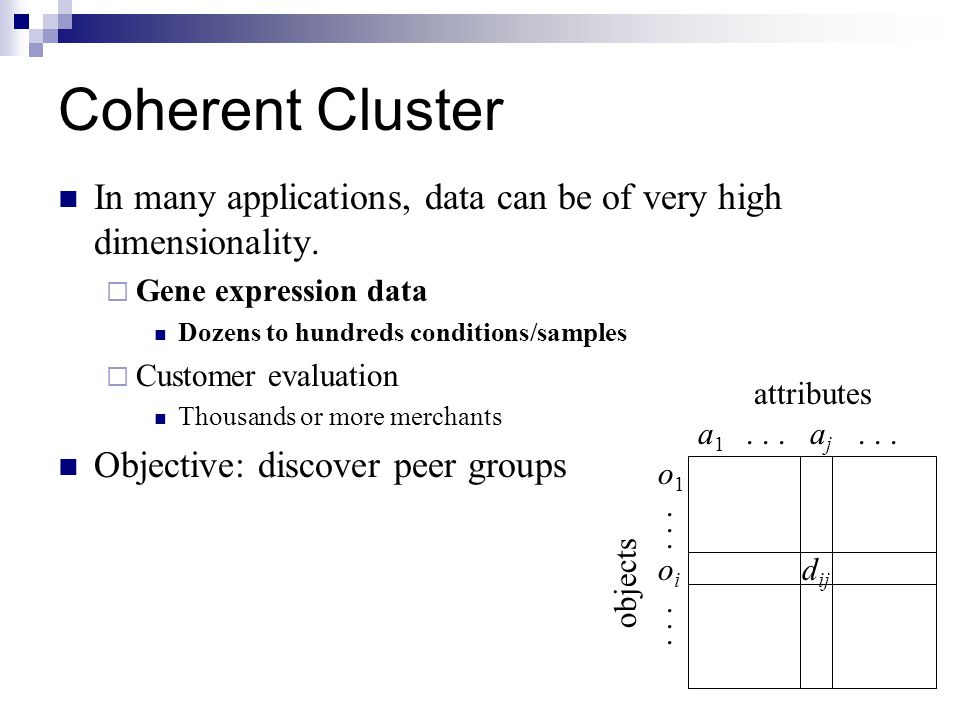 Coherent Cluster In many applications, data can be of very high dimensionality. Gene expression data.