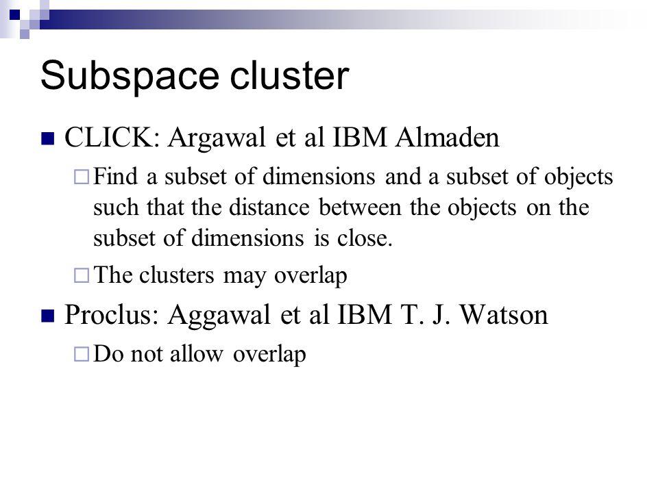 Subspace cluster CLICK: Argawal et al IBM Almaden