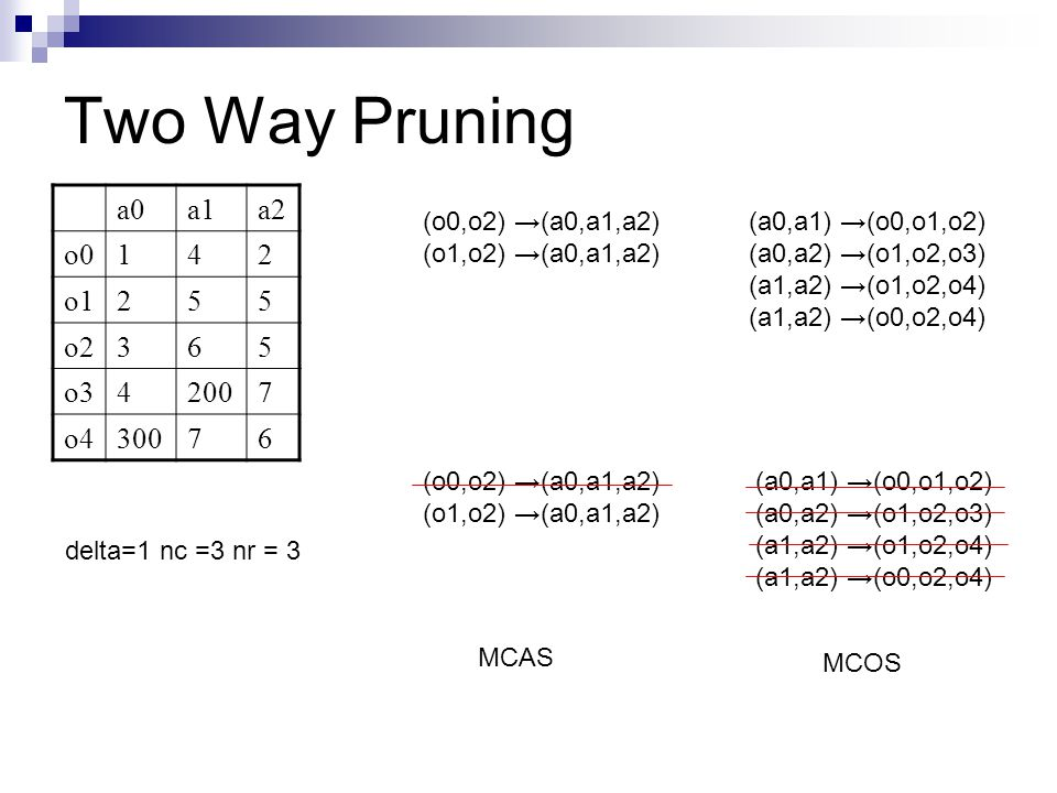 Two Way Pruning a0 a1 a2 o0 1 4 2 o1 5 o2 3 6 o3 200 7 o4 300
