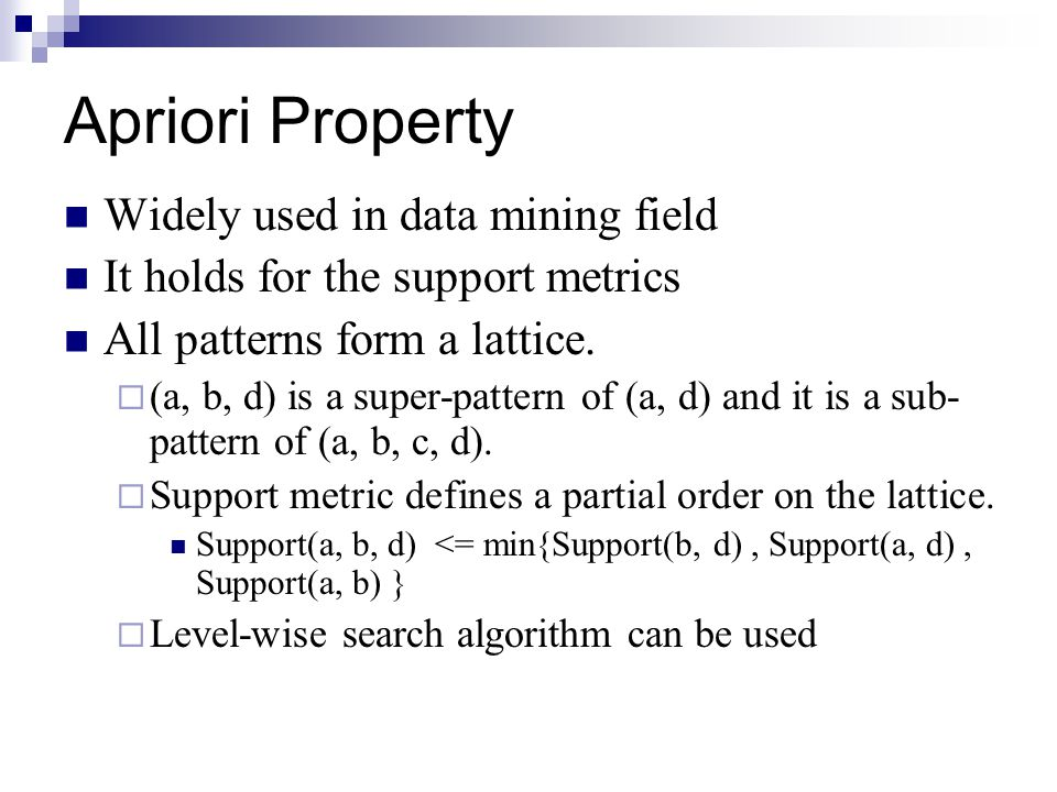 Apriori Property Widely used in data mining field