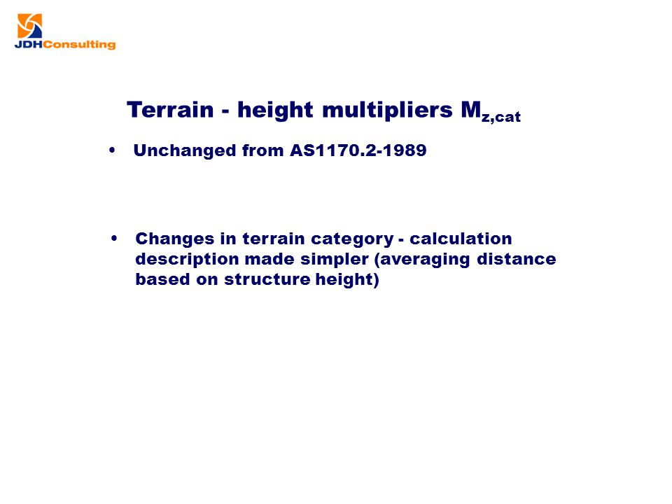 Terrain - height multipliers Mz,cat
